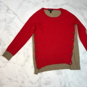 J. crew wool sweater red and tan size small